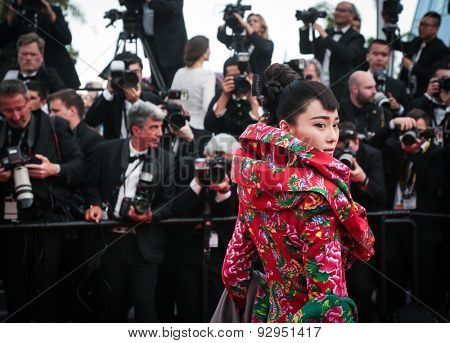 Viann Zhang attends the opening ceremony and premiere of La Tete Haute ('Standing Tall') during the 68th annual Cannes Film Festival on May 13; 2015 in Cannes; France.