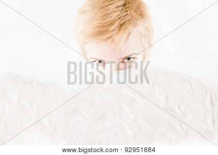 Young Beautiful Blonde Woman With Angel's Wings