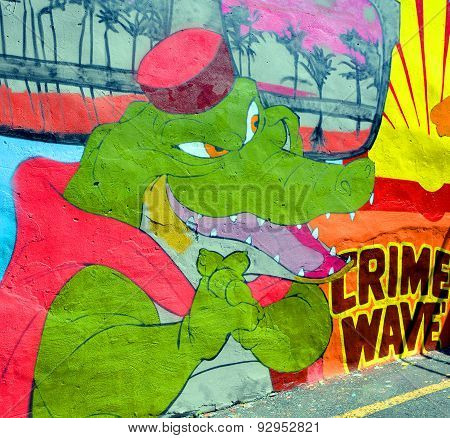 Street art crocodile