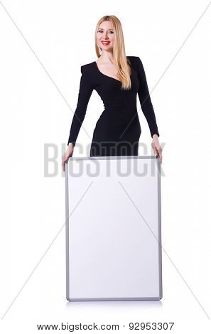 Young blonde girl in black dress with poster isolated on white