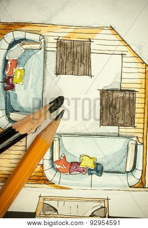 Watercolor freehand sketch painting of floor plan living room sofas with a couple of pencils