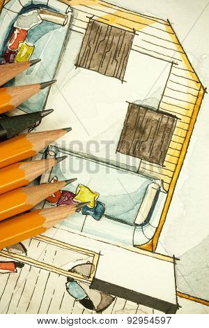 Watercolor freehand sketch painting of floor plan living room sofas with a bunch of sharp pencils