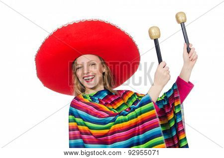 Pretty girl in mexican poncho shaking maracas isolated on white