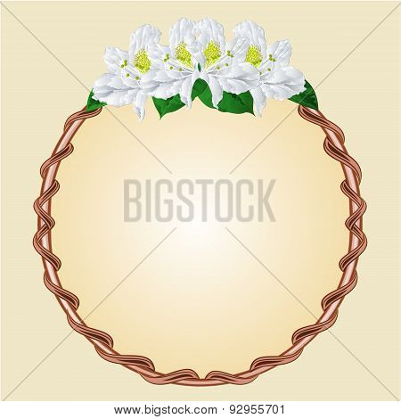 Round Frame With White Rhododendron Vector