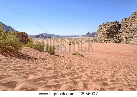 View of Wadi Rum Desert in Jordan