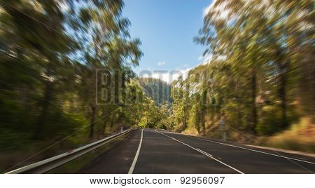 A rural Road With Motion Blur In Australian Countryside