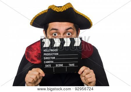 Young pirate holding clapperboard isolated on white