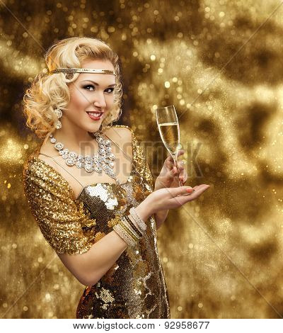 Rich Woman With Champagne Glass, Retro Lady Celebrating In Shining Gold Dress, Vip Girl Golden Gown
