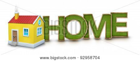 Home text with 3d house