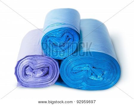 Three Rolls Of Plastic Garbage Bags