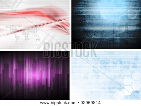 Set of hi-tech abstract backgrounds. Raster art design