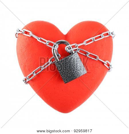 Red heart with metal chain isolated on white