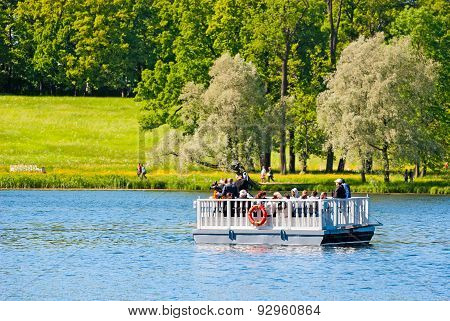 Tsarskoye Selo (Pushkin), Saint-Petersburg, Russia. The Ferry on the Great Pond