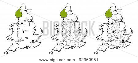 Cumbria located on map of England