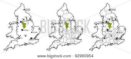 Derbyshire located on map of England