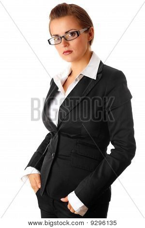 thinking modern business woman with eyeglasses