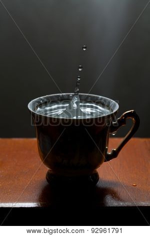 Blue Water Drops And Vintage Cup