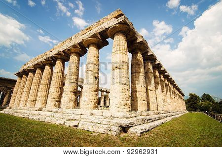 Temple Of Hera The Famous Paestum Archaeological  Site . Italy