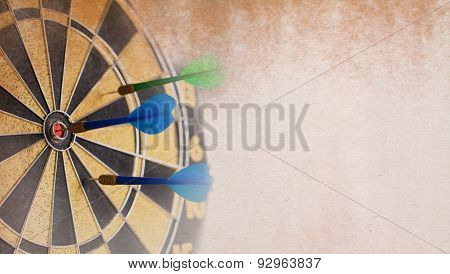 Retro Darts Board. Blue Dart In Bulls Eye.