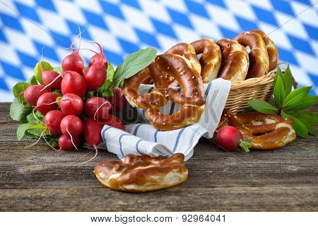 Pretzels and radishes