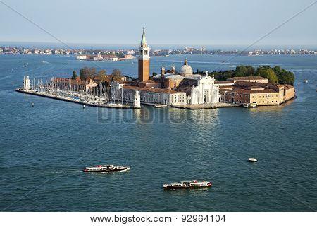 Famous San Giorgio Maggiore Island And Church Near San Marco, Venice, Italy
