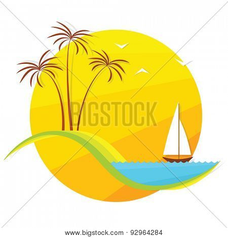 palm trees and  boat at sunset