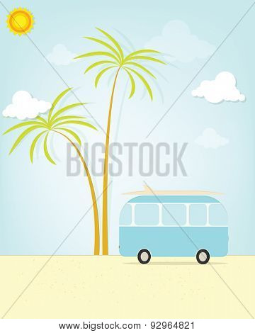 travel bus with palm