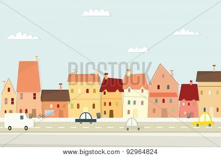 Cartoon city landscape. flat image