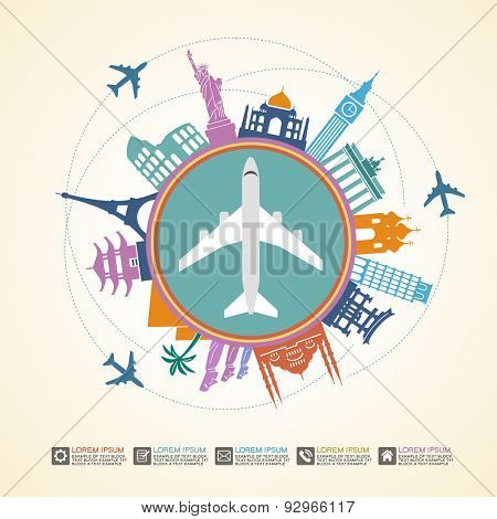 Infographics elements: Travel and Famous Landmarks. Travel concept with stylish icons. File is saved in AI10 EPS version. This illustration contains a transparency