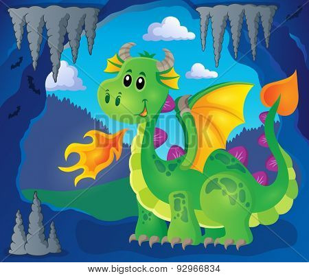Image with happy dragon theme 3 - eps10 vector illustration.