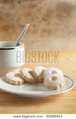 Italian Canestrelli Cookies On A Saucer