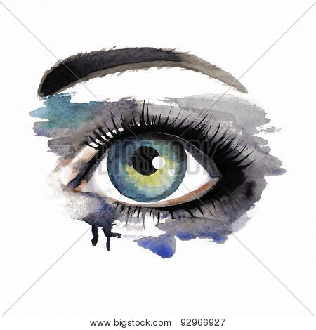 Eye On Grunge Background