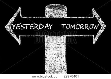 Opposite Arrows With Yesterday Versus Tomorrow