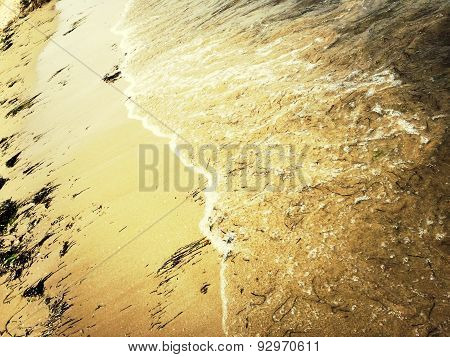 Sandy Beach And Sea Wave