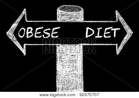 Opposite Arrows With Obese Versus Diet