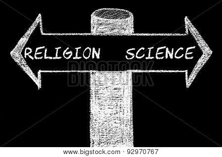Opposite Arrows With Religion Versus Science