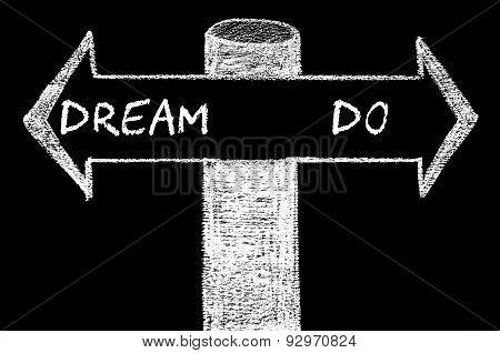 Opposite Arrows With Dream Versus Do