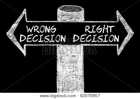 Opposite Arrows With Wrong Decision Versus Right Decision