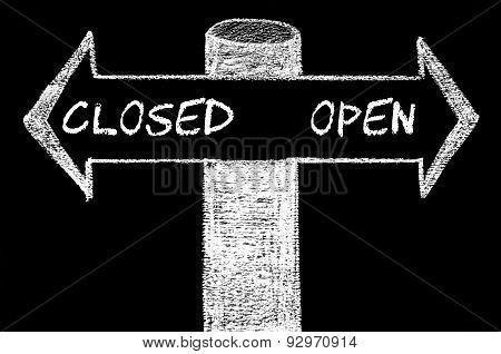 Opposite Arrows With Closed Versus Open