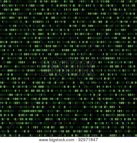 Binary background with green digits. Vector illustration.