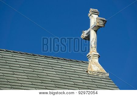Ornate Deteriorated White Church Cross