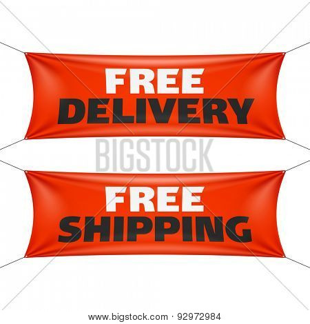 Free delivery and free shipping banners. Vector.