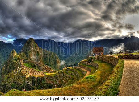 Cloudy weather over Machu Picchu, Peru