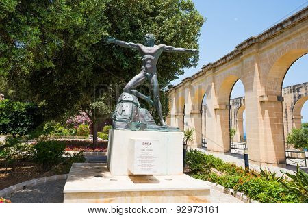 Valletta, Malta - 25 May 2015: Enea statue in Lower Barrakka Gardens in Valletta in Malta