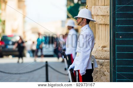 Valletta, Malta - 25 May 2015: shun maltese royal guardian in uniform in a street of Valletta