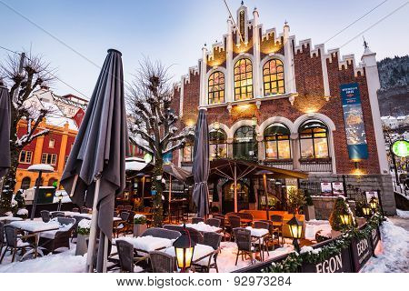 Bergen, Norway - December 27, 2014: evening the streets of Bergen at Christmas, Norway
