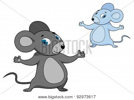 Cute little grey cartoon mouse