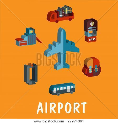 Set of colored volume airport icons