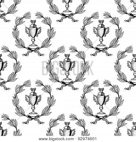 Seamless pattern with sport trophy cups
