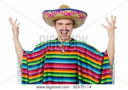 Funny young mexican with false moustache isolated on white